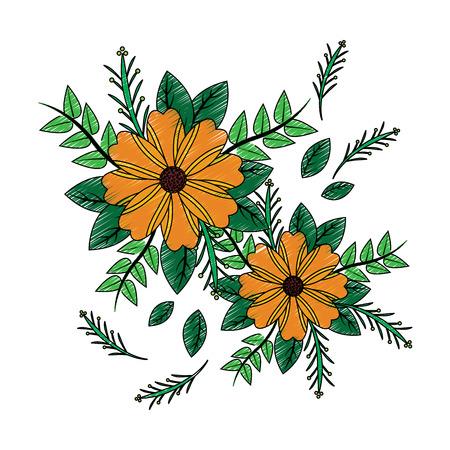 flowers natural leaves branch botanical arrangement vector illustration