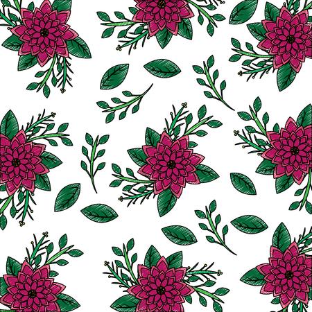 コレクションダリアの花の葉ベクトルイラストとシームレスな壁紙パターン