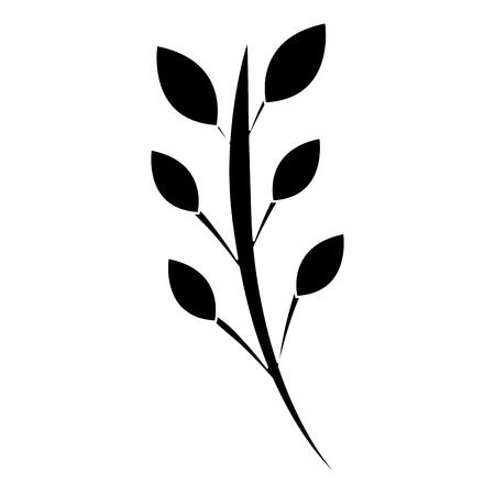 Floral decorative branch leaves plant icon pictogram vector illustration Ilustração