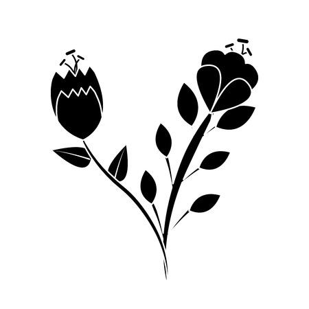Two flowers stem leaves natural petal image vector illustration Ilustração