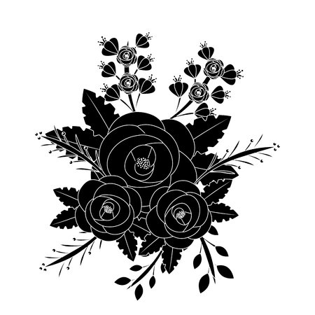 Flowers natural leaves branch botanical arrangement in black and white vector illustration