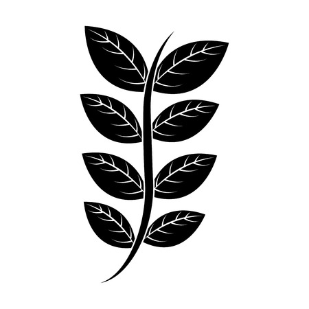 Floral decorative branch leaves plant icon  illustration.