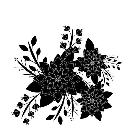 Flowers natural leaves branch botanical arrangement illustration.