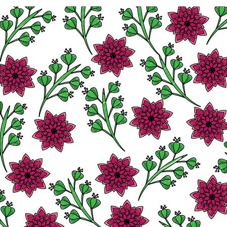 シームレスな壁紙パターン コレクション ダリアの花の葉ベクター イラスト  イラスト・ベクター素材