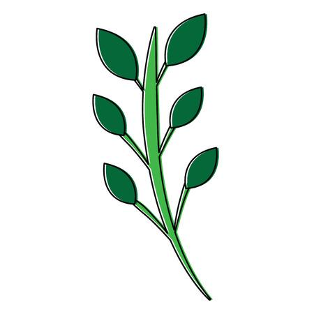 Green floral decorative branch leaves plant icon pictogram vector illustration Ilustração
