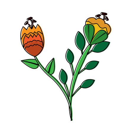 Two flowers stem leaves natural petal image vector illustration Çizim