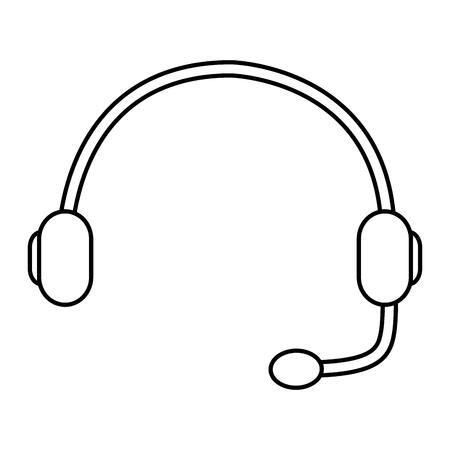 ヘッドセットサポートヘルプライン通信機器ベクトルイラストアウトライン画像  イラスト・ベクター素材