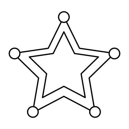 ster sheriff politie insignia autoriteit pictogram vector illustratie overzicht afbeelding Stock Illustratie