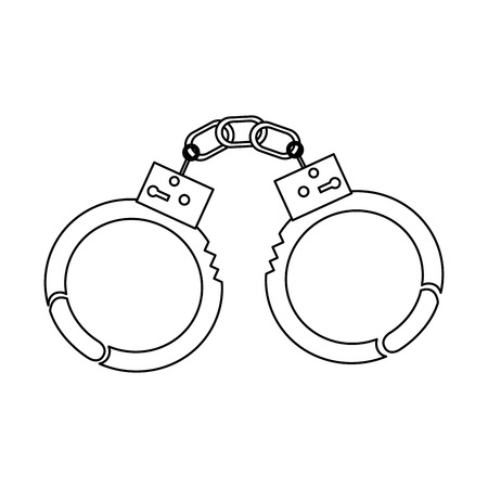 handcuffs police tool segurança apreensão vector illustration outline image