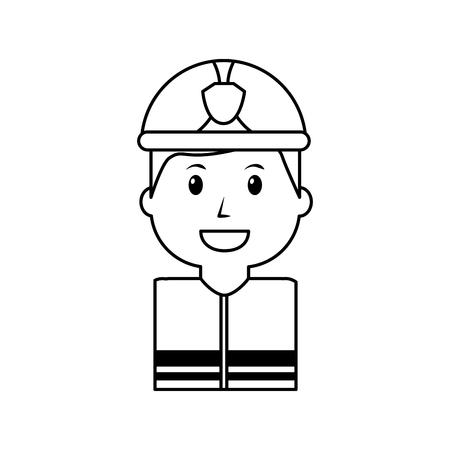 werknemer brandweerman portret cartoon met helm vector illustratie overzicht afbeelding Stock Illustratie