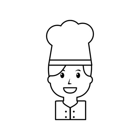 Portrait of chef woman occupation worker illustration outline image.