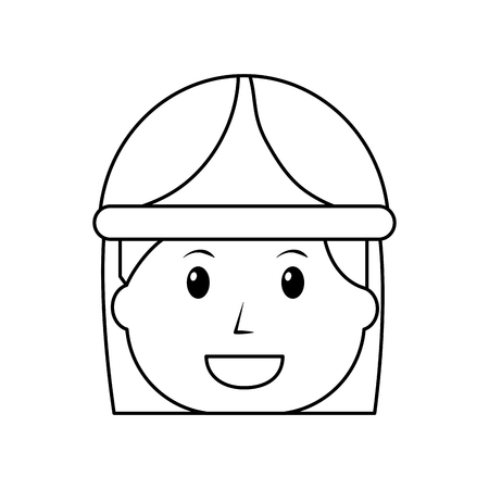 female face smiling worker with helmet protection vector illustration outline image