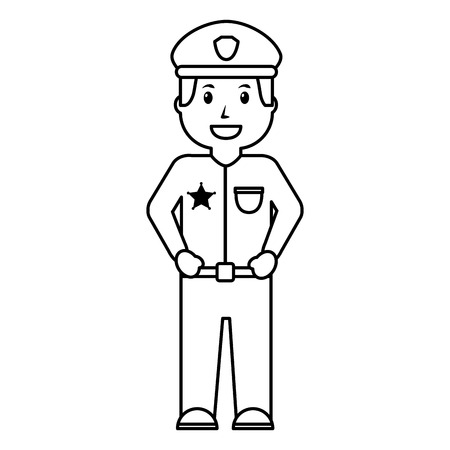 Portrait policeman smiling uniform and cap vector illustration outline image in black and white