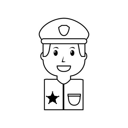 ●制服イラストのアウトライン画像に帽子をかぶった肖像警官。  イラスト・ベクター素材