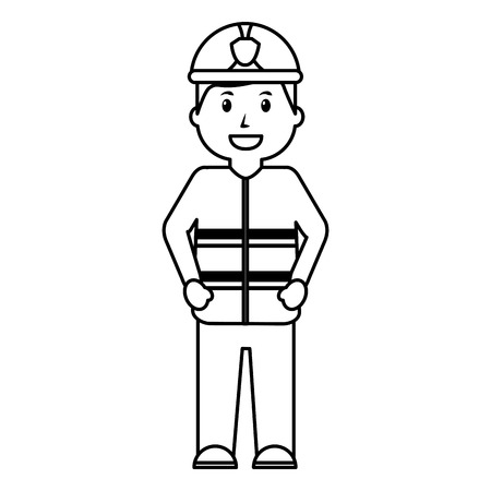 standing happy firefighter worker with uniform and helmet vector illustration outline image