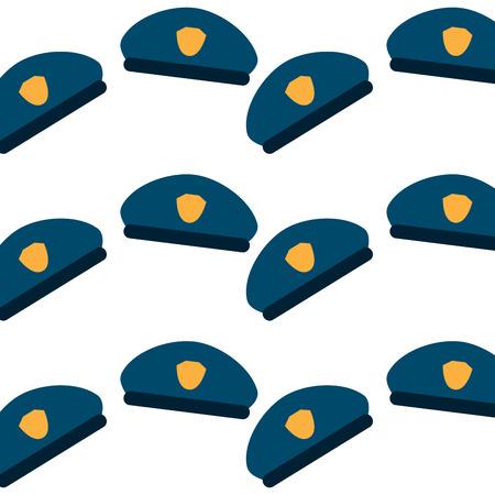 원활한 패턴 경찰 모자 유니폼 액세서리 벡터 일러스트 레이션