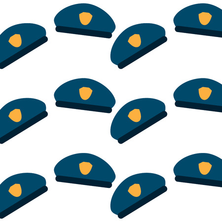 seamless pattern police hat uniform accessory vector illustration