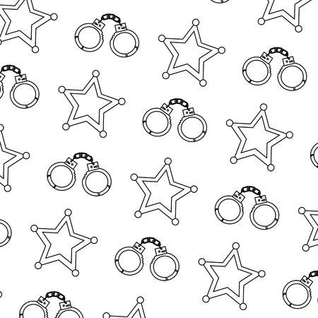 警察手錠とスターセキュリティパターンベクトルイラスト  イラスト・ベクター素材