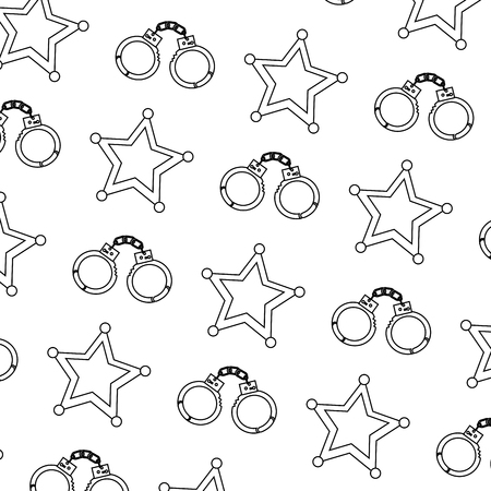 police handcuffs and star security pattern vector illustration
