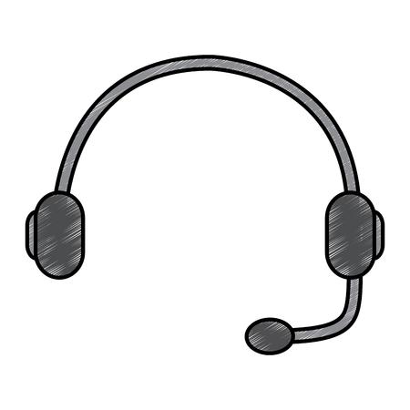 ヘッドセットサポートヘルプライン通信機器ベクトルイラスト