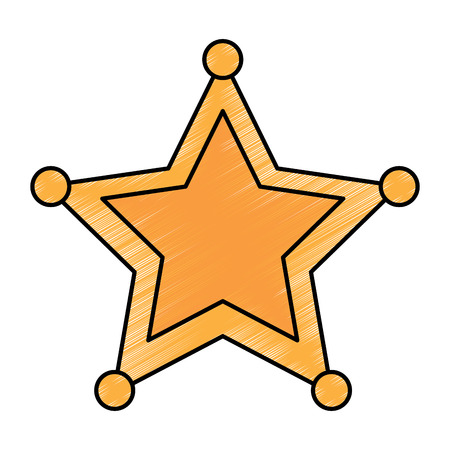 ster sheriff politie-insignia autoriteit pictogram vectorillustratie Stock Illustratie