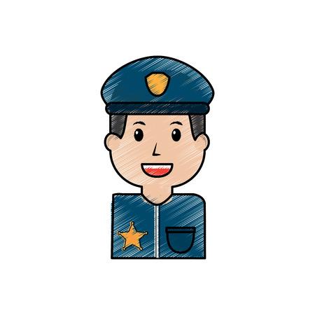 portrait policeman smiling with hat uniform vector illustration drawing image Illustration