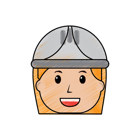 female face smiling worker with helmet protection vector illustration drawing image Illusztráció