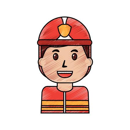 werknemer brandweerman portret cartoon met helm vector illustratie tekening afbeelding