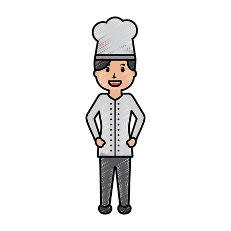 female chef worker professional cooking vector illustration drawing image