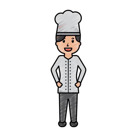 vrouwelijke chef-kok werknemer professioneel koken vector afbeelding tekening afbeelding