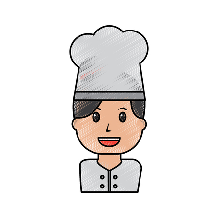 portrait chef woman occupation worker vector illustration drawing image Illustration