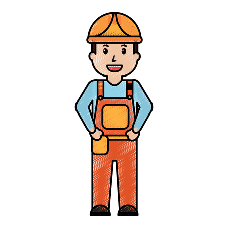 worker man construction standing character professional vector illustration drawing image