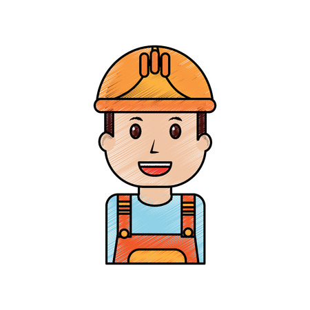 portrait worker man construction with overalls and helmet drawing image