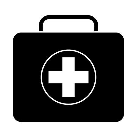 Immagine del nero dell'illustrazione di vettore del caso di emergenza del pronto soccorso del kit medico Archivio Fotografico - 91437799
