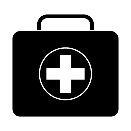 medical kit first aid emergency case vector illustration black image