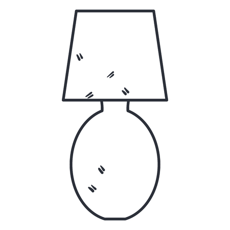 Illustration of bedroom lamp line icon