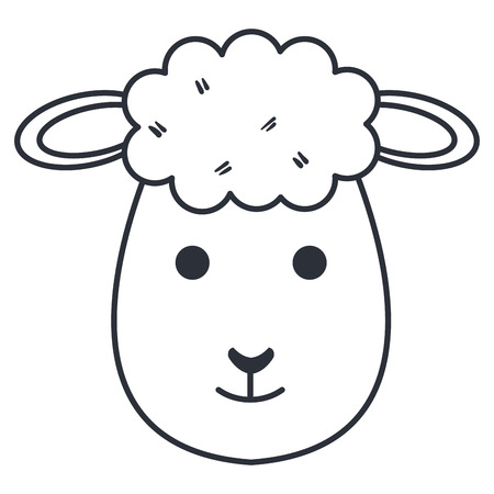 cute sheep character vector illustration design isolated on white