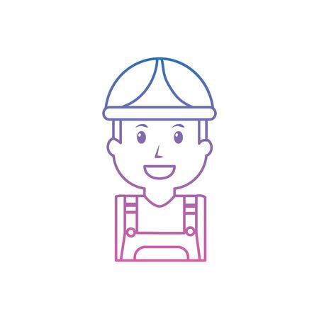 白に隔離された安全帽子をかぶった建設作業員