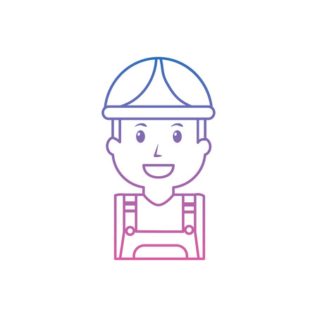 Construction worker wearing safety hat isolated on white Ilustrace