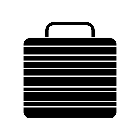 suitcase of worker people fashion vector illustration black image