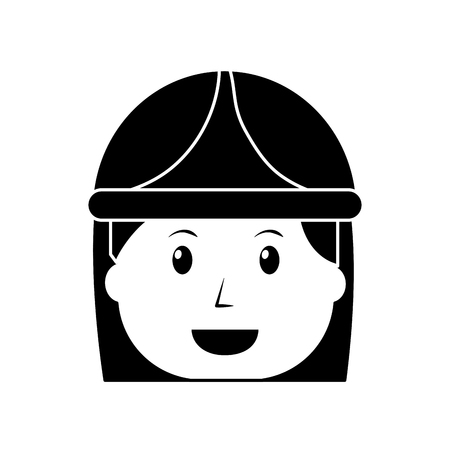Female face worker with helmet protection illustration.