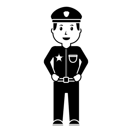 Policeman in uniform and cap illustration.
