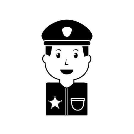 Portrait of policeman with hat and in uniform illustration. Illustration