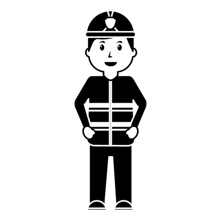 standing happy firefighter worker with uniform and helmet vector illustration black image