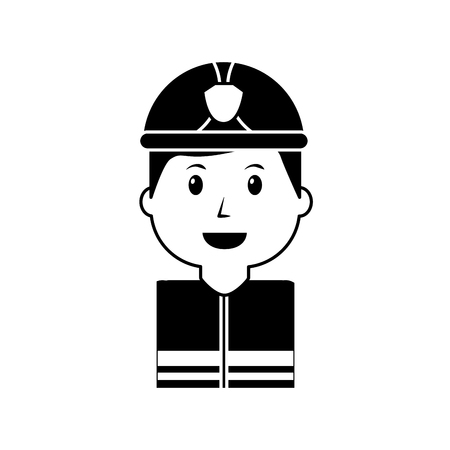 worker firefighter portrait cartoon with helmet vector illustration black image