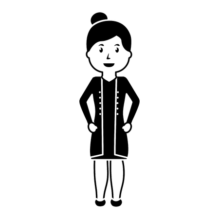 doctor female worker standing character vector illustration black image