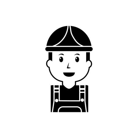 ●オーバーオールとヘルメット、ベクトルイラストを使用したポートレートワーカーマン構築。