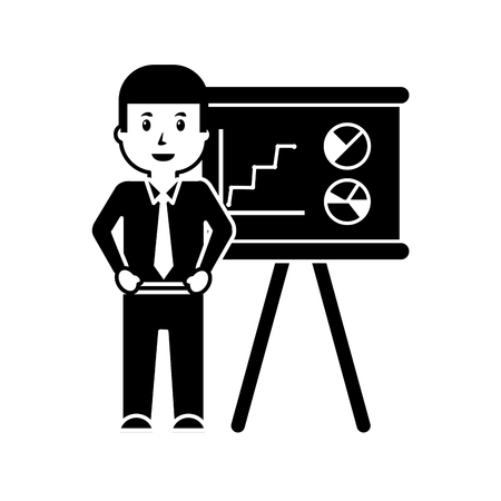 Businessman worker standing with presentation board, vector illustration. Illustration
