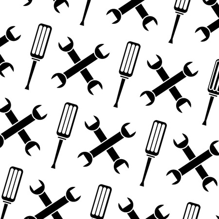 seamless pattern wrench and screwdriver tool repair pattern vector illustration