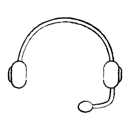 headset support helpline communication equipment vector illustration